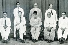 CMSF Committee of Management 1957. Seated (L-R): O.L.M. Ismail (Secretary), A.M.A. Azeez, Dr. M.P. Drahaman (President BoT), S.L.M. Hashiem & M.L.M. Mackeen. Standing (L-R): A. Mansoor Marikar, M. Mathany Ismail (Chairman) & Dr. A.R.M. Waffarn Absent: Dr. A.C.M. Sulaiman, A.J.M. Jameel, M.U.M. Saleem & M.M. Thahir.