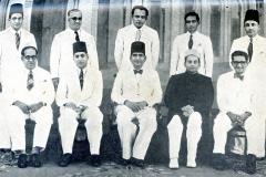 CMSF Committee of Management 1952 Seated (L-R): M. Mathany Ismail, A.M.A. Azeez (Chairman), A.M. Buhari (President BoT), L. Gulamhusein (Secretary) & M.L.M. Mackeen. Standing (L-R): A.J.M. Jameel, Dr. A.R.M. Waffarn, M. Rafeek, M.U.M. Saleem & M.H.S. Marikar.