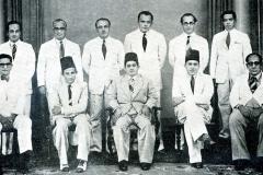 CMSF Committee of Management 1953 Seated (L-R): M.L.M. Mackeen, S.H.A. Wadood (Secretary), S.A.C. Shums (President BoT), A.M.A. Azeez (Chairman) & M. Mathany Ismail. Standing (L-R): A.J.M. Jameel, Dr. A.R.M. Waffarn, M.H.S. Marikar, M. Rafeek, M.H.M. Naina Marikar & M.U.M. Saleem.