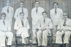 CMSF Committee of Management 1955. Seated (L-R): S.Y. Issadeen (Secretary), A.M.A. Azeez (Chairman), M.M. Abdul Cader (President BoT) & M. Mathany Ismail. Standing (L-R): M.H.M. Naina Marikar, M.H.S. Marikar, Dr. A.C.M. Sulaiman & M.M. Thahir.